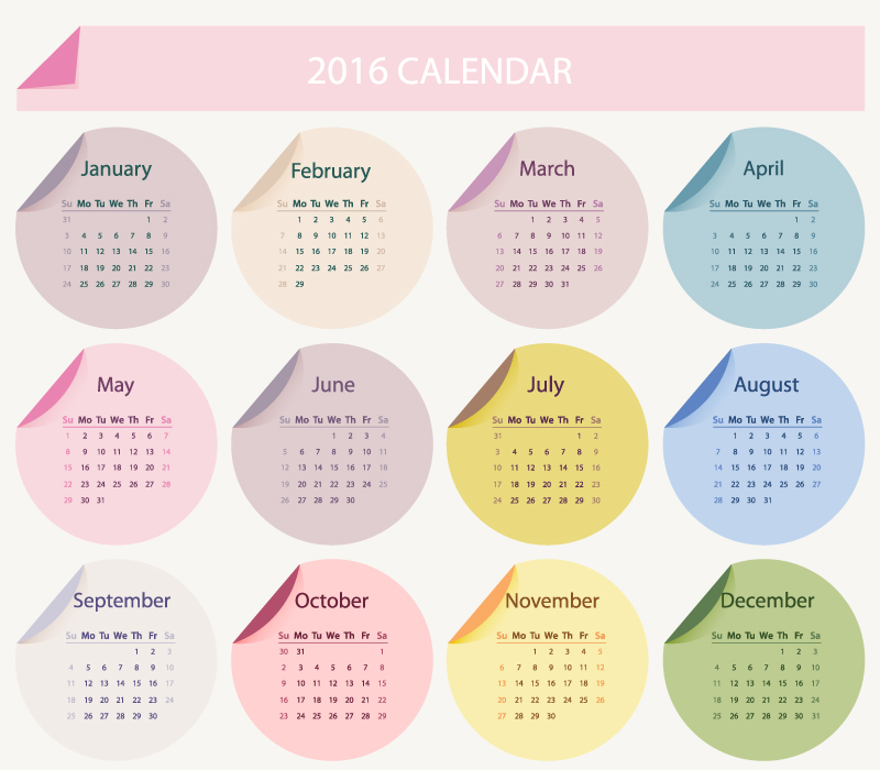 2016 Calendar Ribbon Stickers Vector
