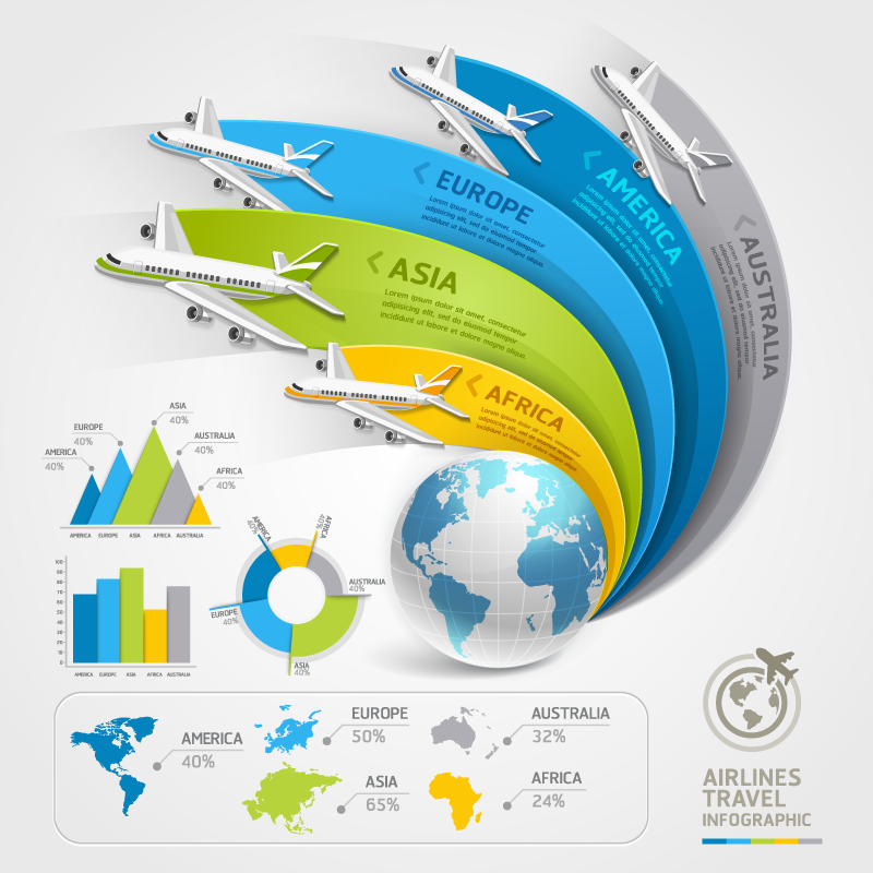Airlines Travel Infographic Vector