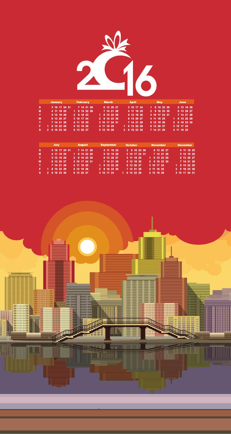 Calendar 2016 Cityscape Vector