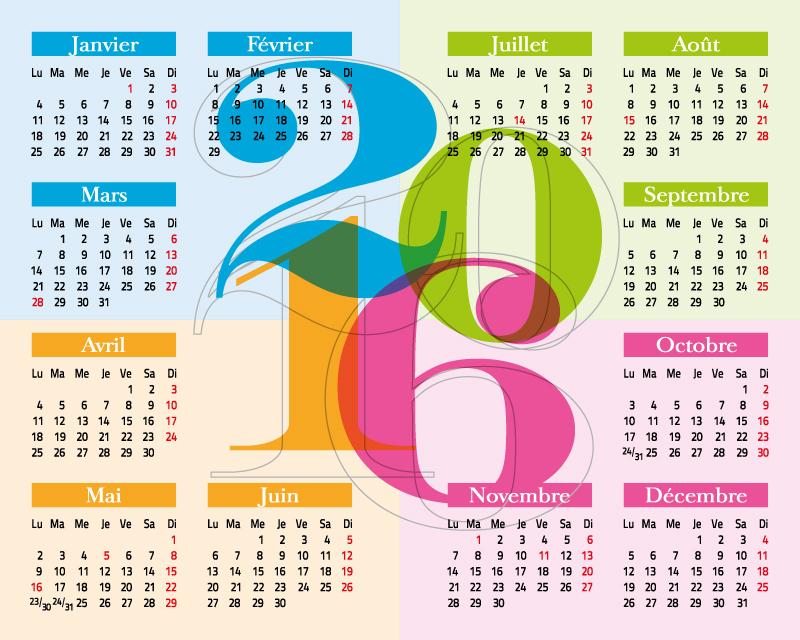 Calendar 2016 Line Drawing Vector