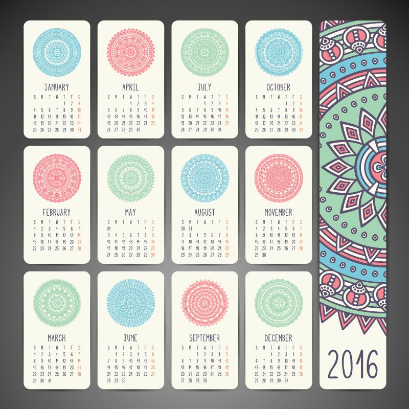 Calendar 2016 Pattern Vector