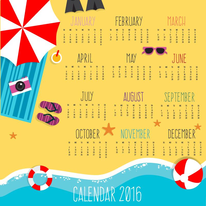 Calendar 2016 Sandy Beach Vector