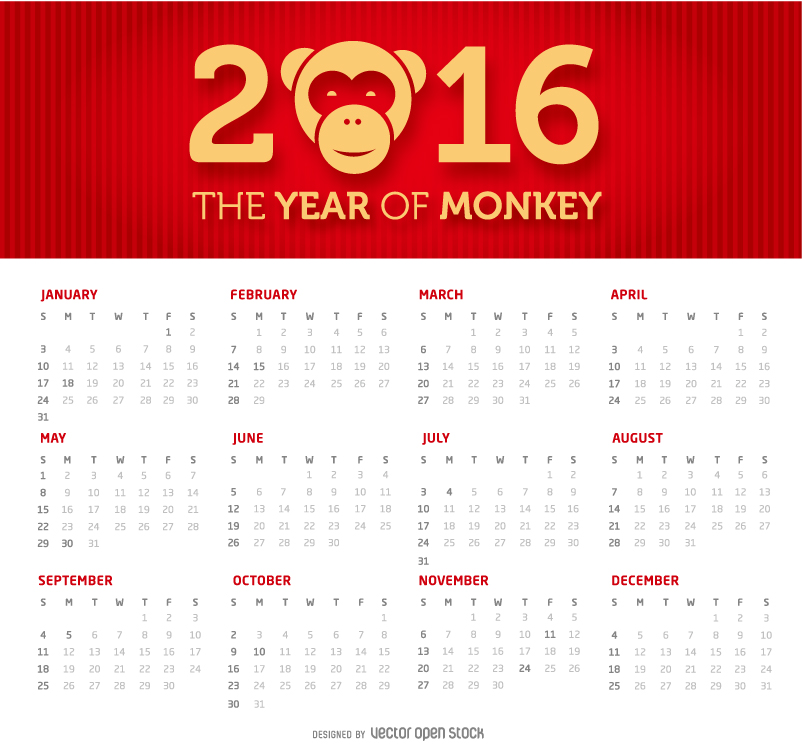 Calendar 2016 The Year of Monkey Vector