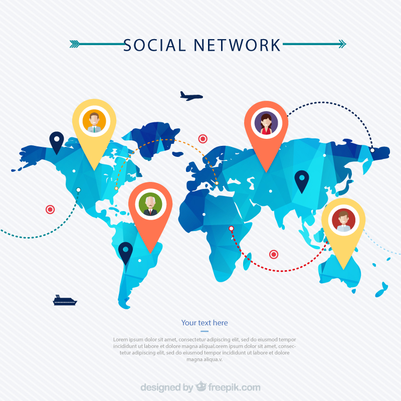 Social Network Map Vector