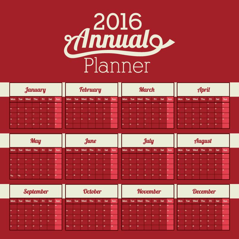 Calendar 2016 Annual Planner Vector