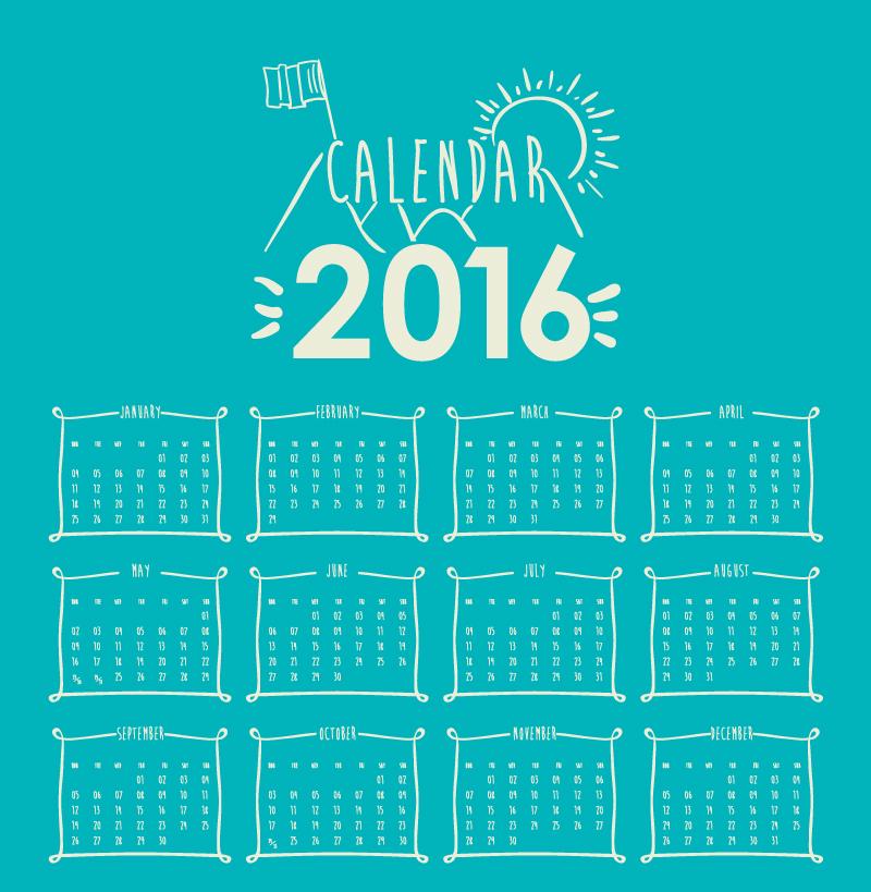 Calendar 2016 Blue Sun Vector
