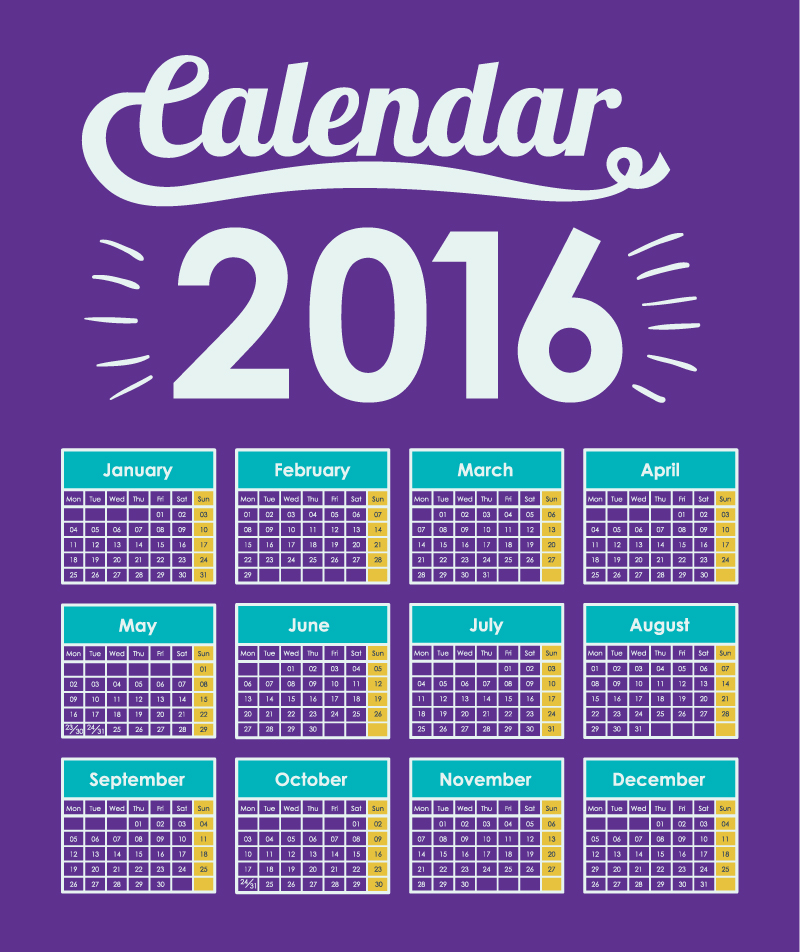 Calendar 2016 Purple Light Vector