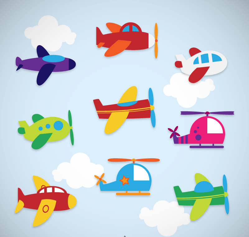 Cartoon-Airplane-Stickers-Vector