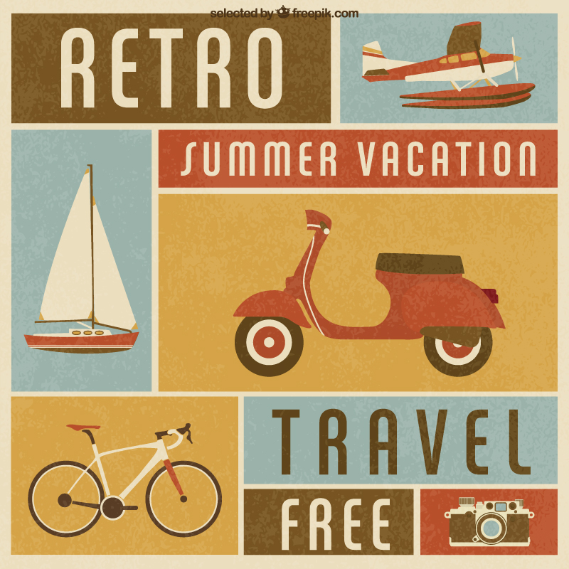 Retro Summer Travel Vector