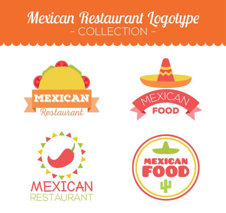 4 Creative Mexican Restaurant Logo Vector