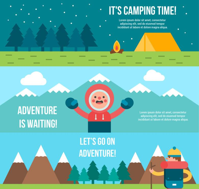 Three Flat Camping Banner Vector