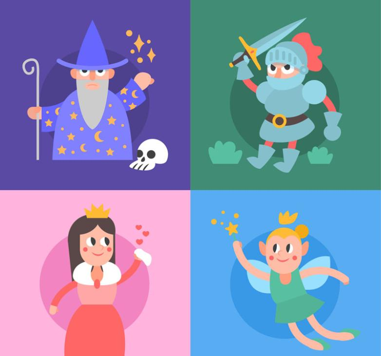 4 Creative Fairy Tale Character Design Vector