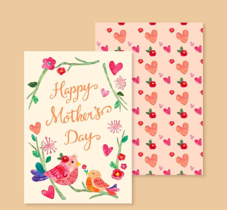 Water Painting Of Flowers And Birds On Mother's Day Greeting Card Vector Diagram