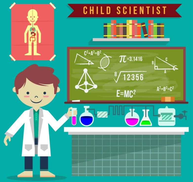 The Children Do Science Experiments And Blackboard Vector