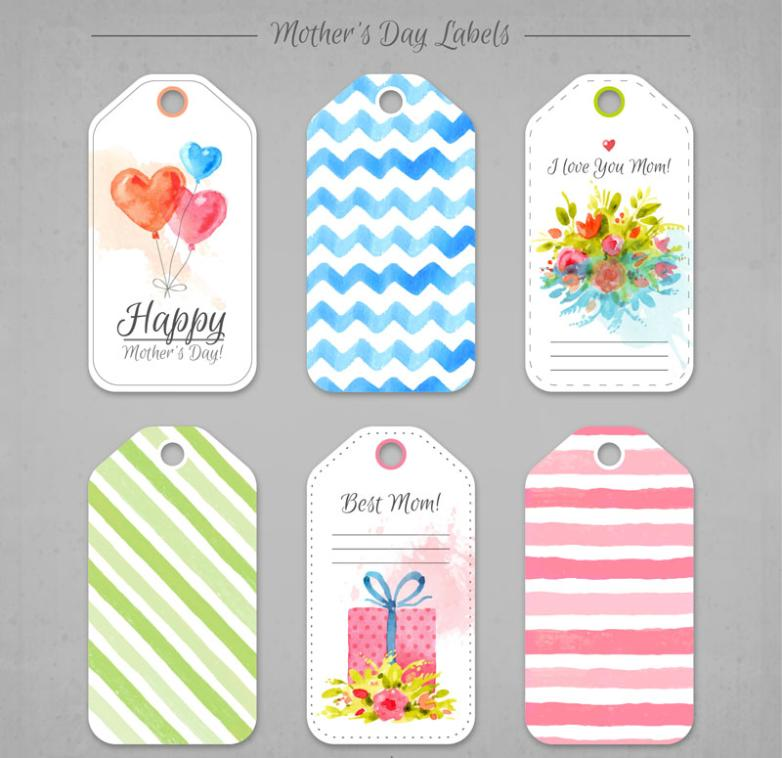 Six Water Coloured Drawing Or Pattern On Mother's Day Greeting Card Vector