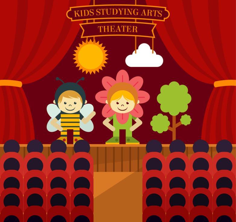 Children's Cartoon Theater Performances Illustrator Vector
