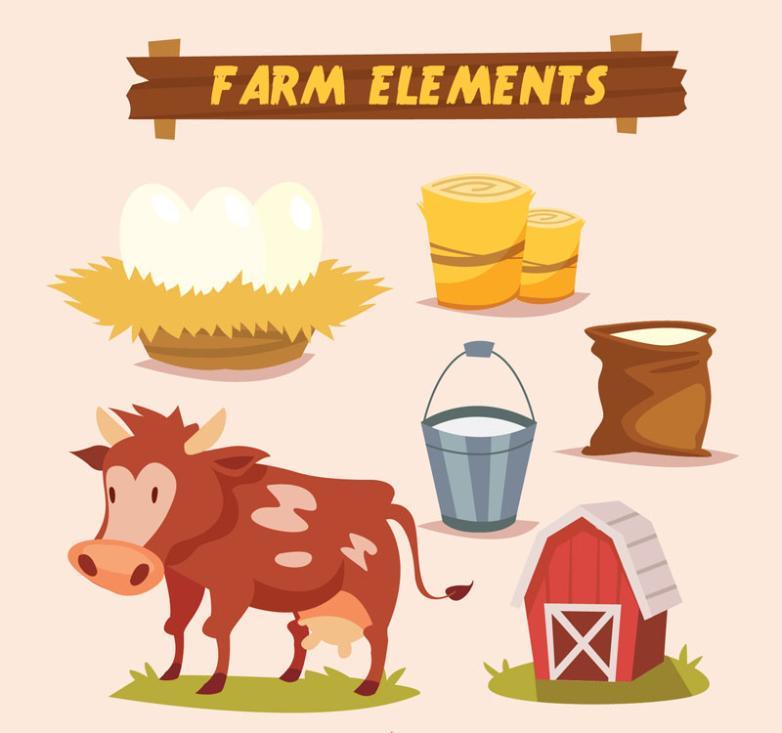 6 Creative Farm Product Element Vector