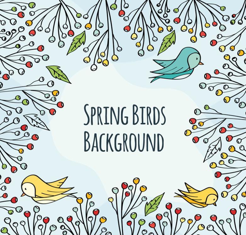 The Cartoon Spring Branches And Bird Border Vector