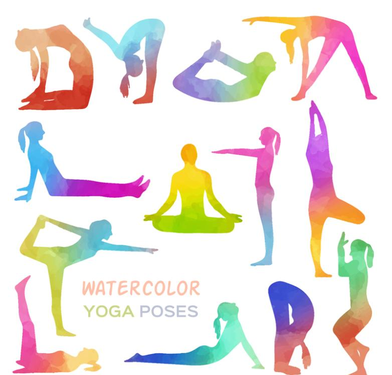 13 New Color Yoga Character Position Silhouette Vector Map