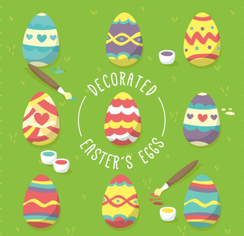 Nine New Creative Pattern Easter Eggs Vector