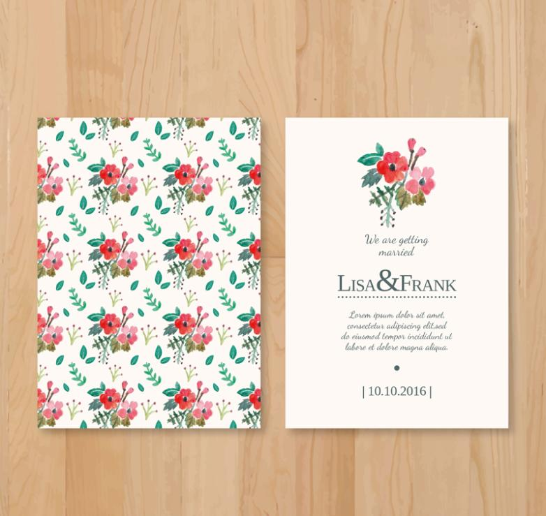 Red Water Painting Flowers Wedding Invitation Card Vector Diagram