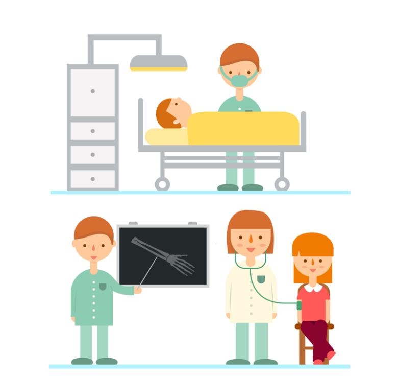 Three Groups Of Medical Staff And Patients Vector