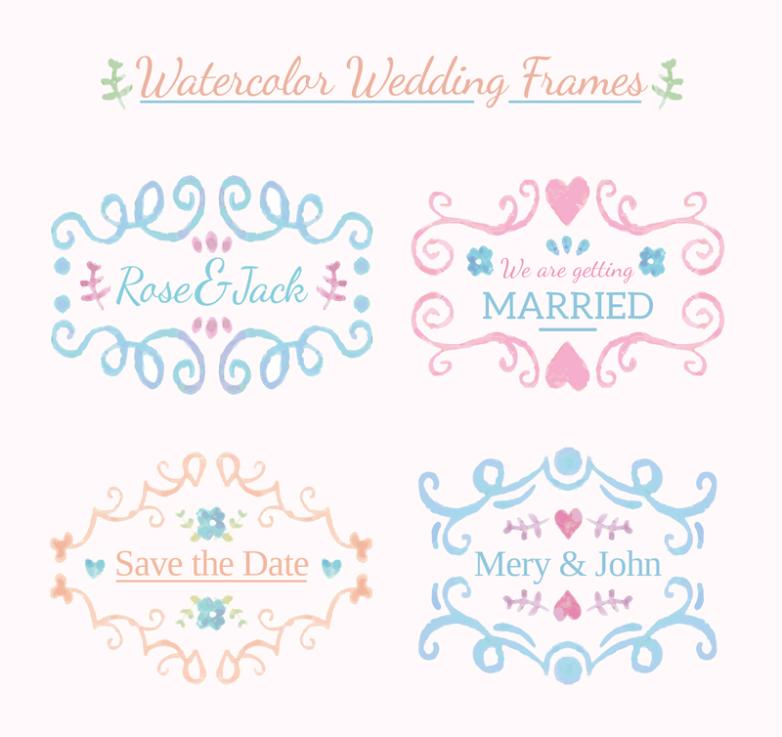 4 Water Wedding Pattern Frame Vector Coloured Drawing Or Pattern