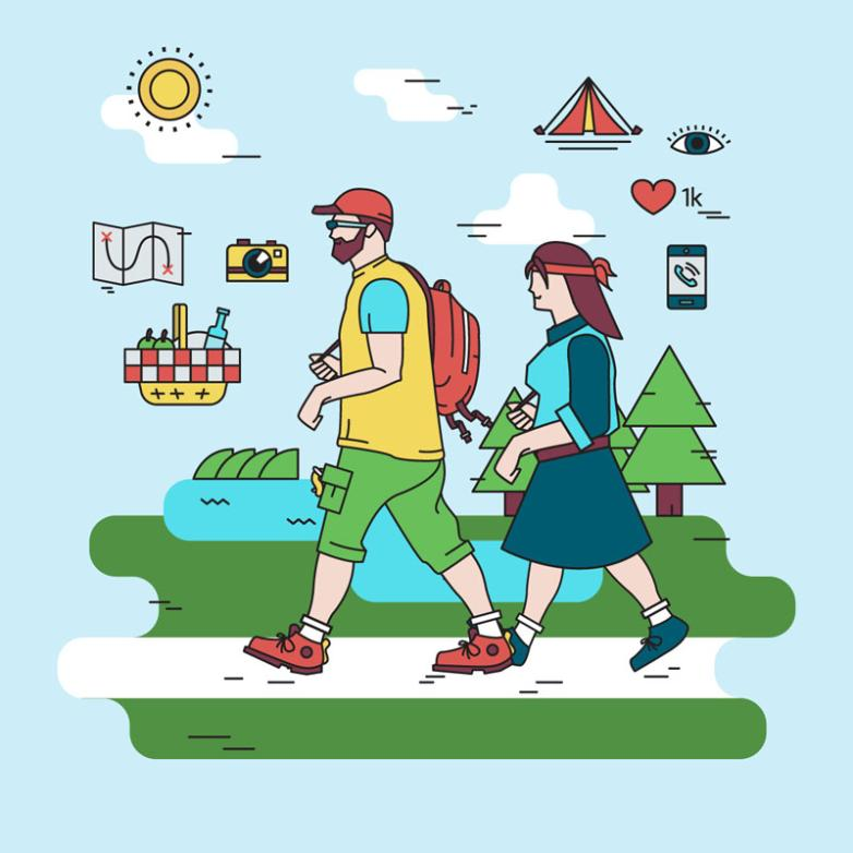 Two Creative Hiking Character Vector