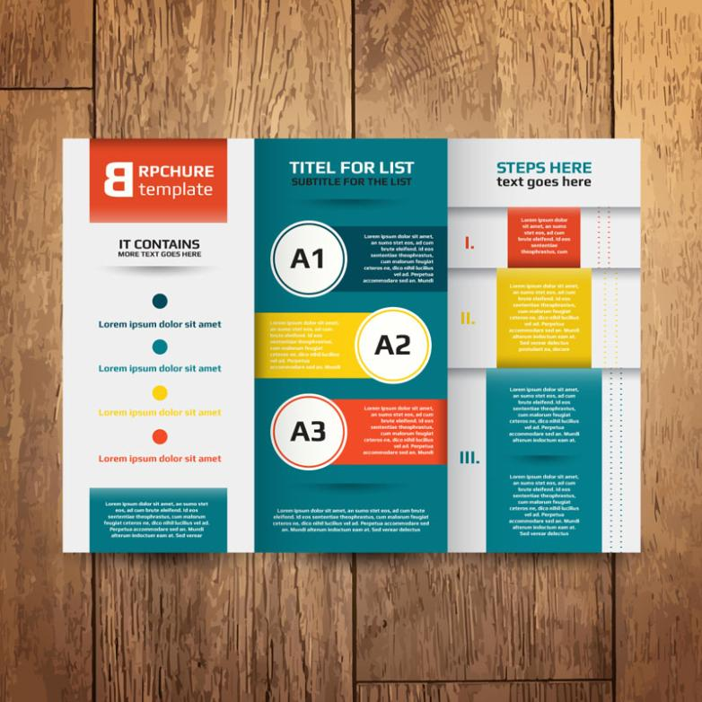 The Fashion Business Three Folding Brochures Vector