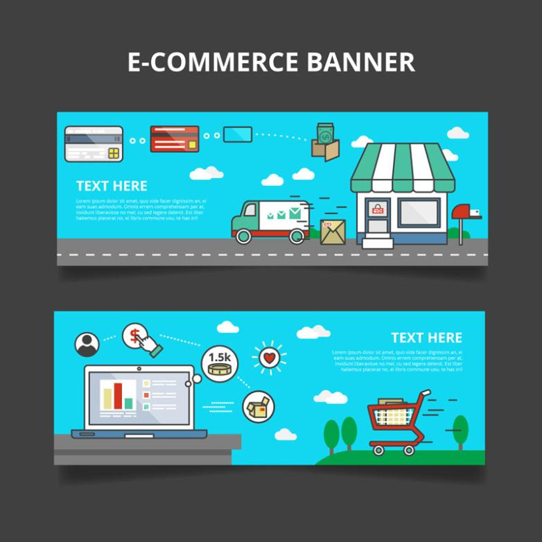 2 Or More Creative E-commerce Banner Vector