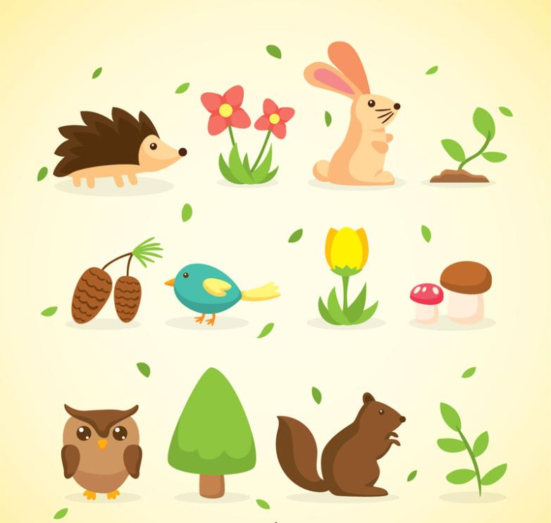 16 Cartoon Forest Flora And Fauna Element Vector