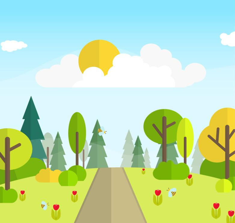 The Cartoon Trees And Road Landscape Vector