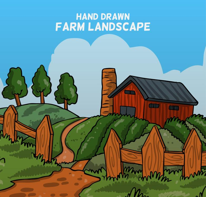Hand-painted Farm Landscape Vector