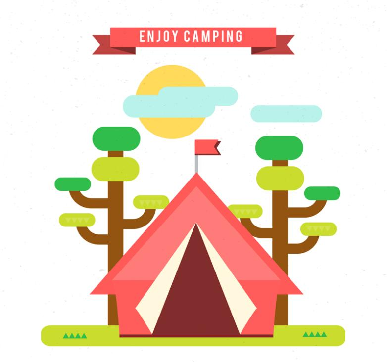 Enjoy Camping Tents Outside Vector