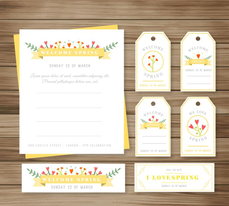 7 Color Cards And Tags Vector Meet Spring