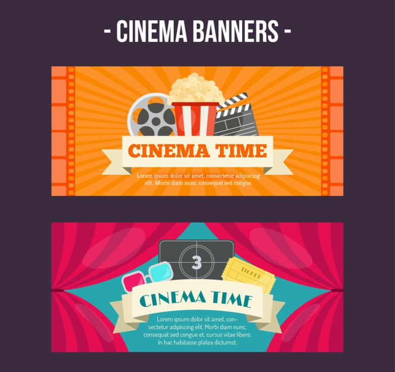 Two Banner Creative Movie Time Element Vector