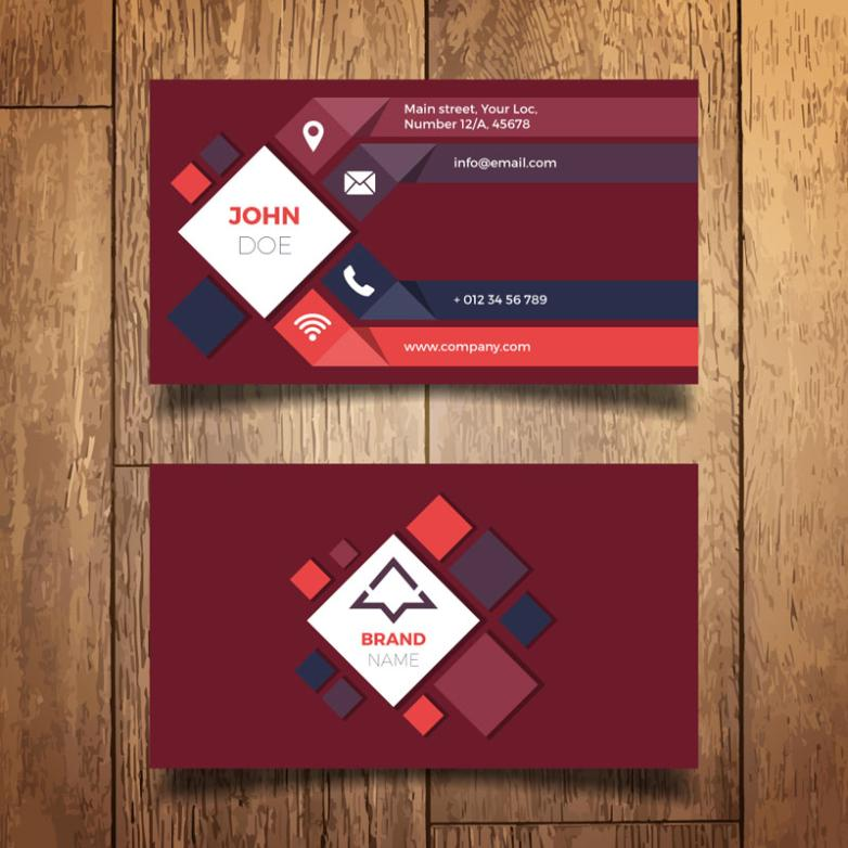 The Fashion Of The Front Side Of The Diamond Decoration Business Card Vector