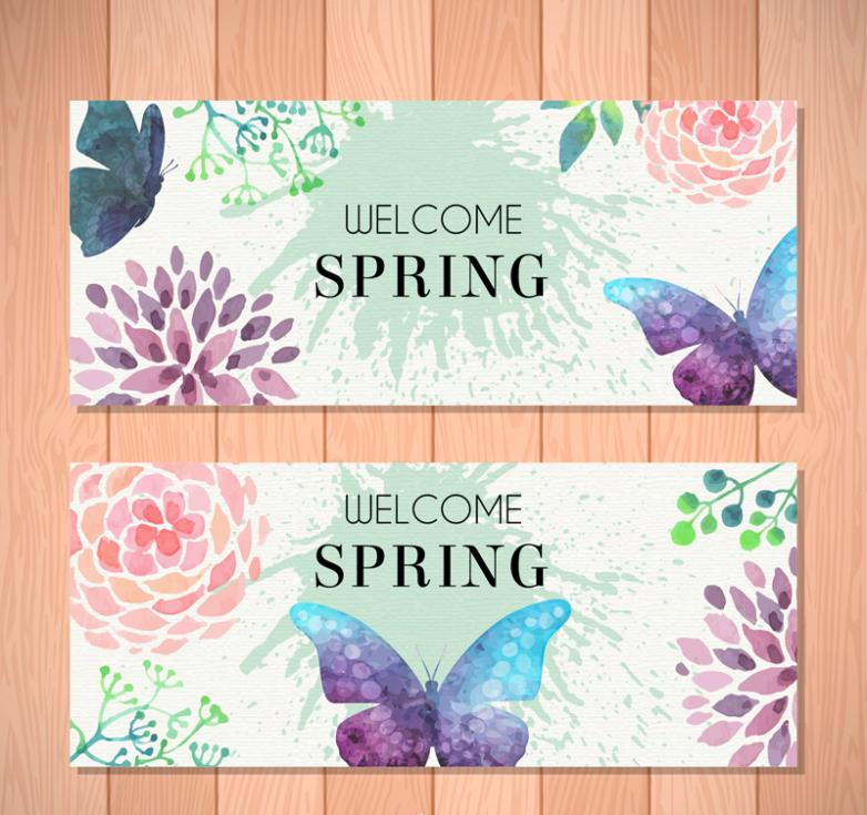 Two Butterflies And Flowers Banner Water Coloured Drawing Or Pattern Vector
