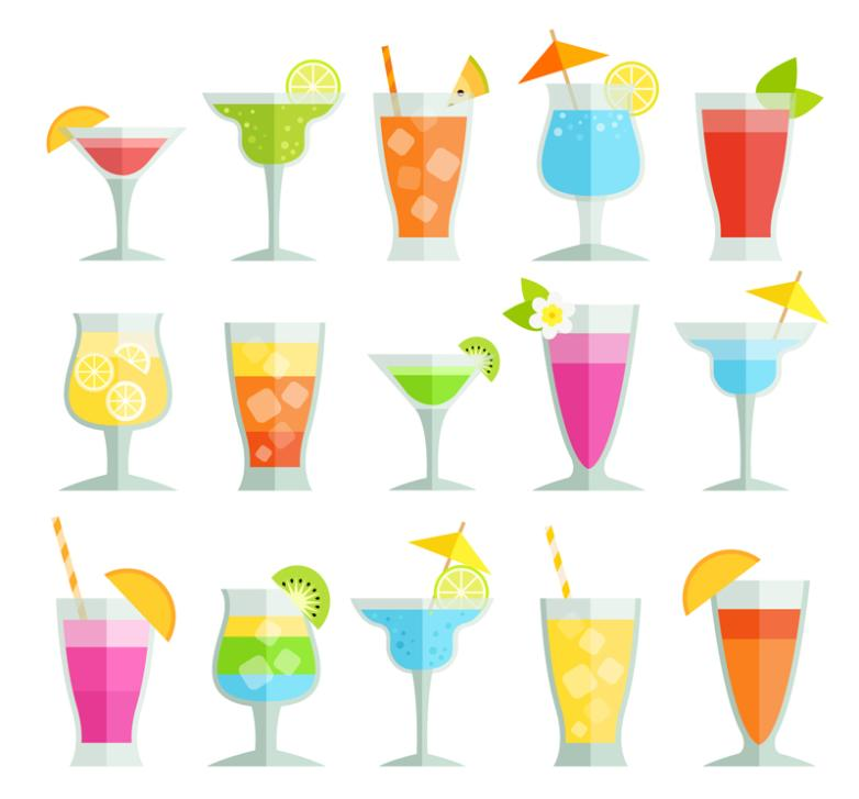 15 Flattening Summer Cold Drink Vector