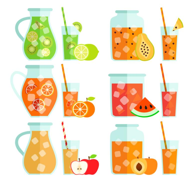 Six Flattening Juice Vector Design