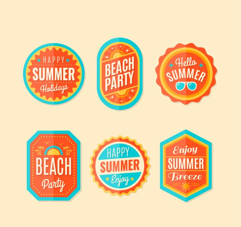 Six Orange Summer Holiday Label Vector