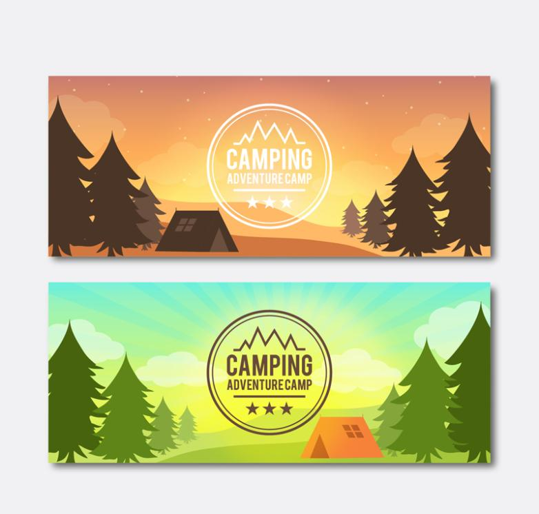 Two Forest Landscape Camping Banner Vector