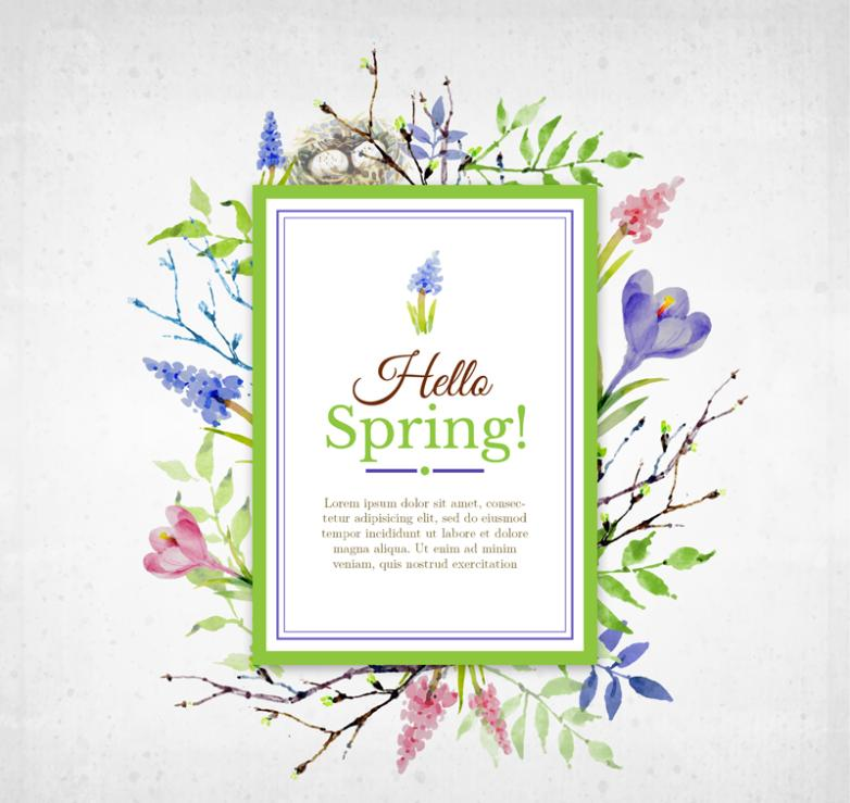 Hello Summer Watercolor Flower Adornment Card Vector Diagram