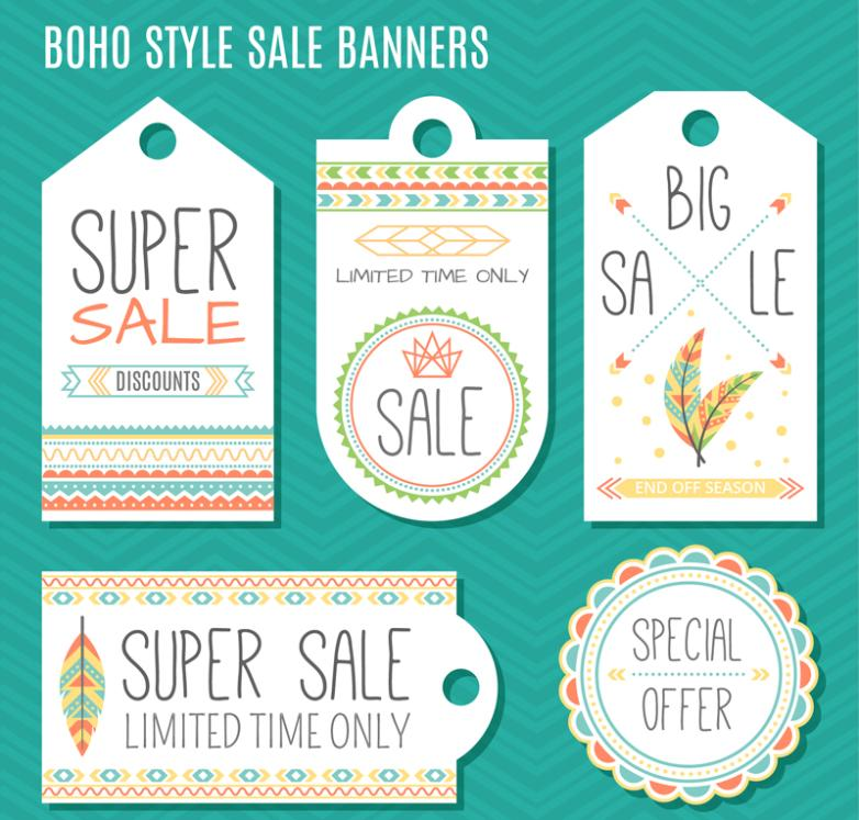 5 Mix Building A Style Promotional Labels And Tags Vector Diagram