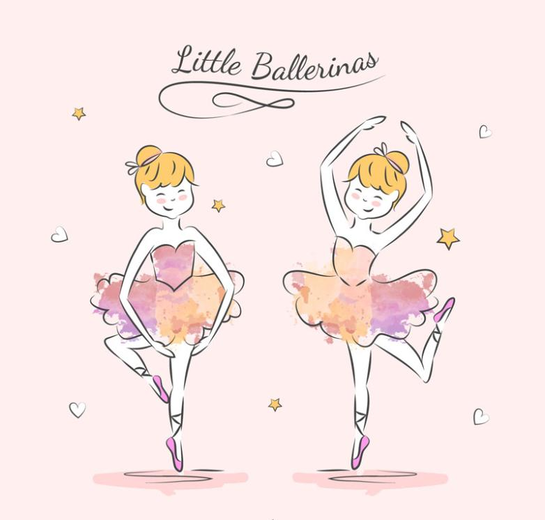 Two Pink Skirt Ballerina Vector