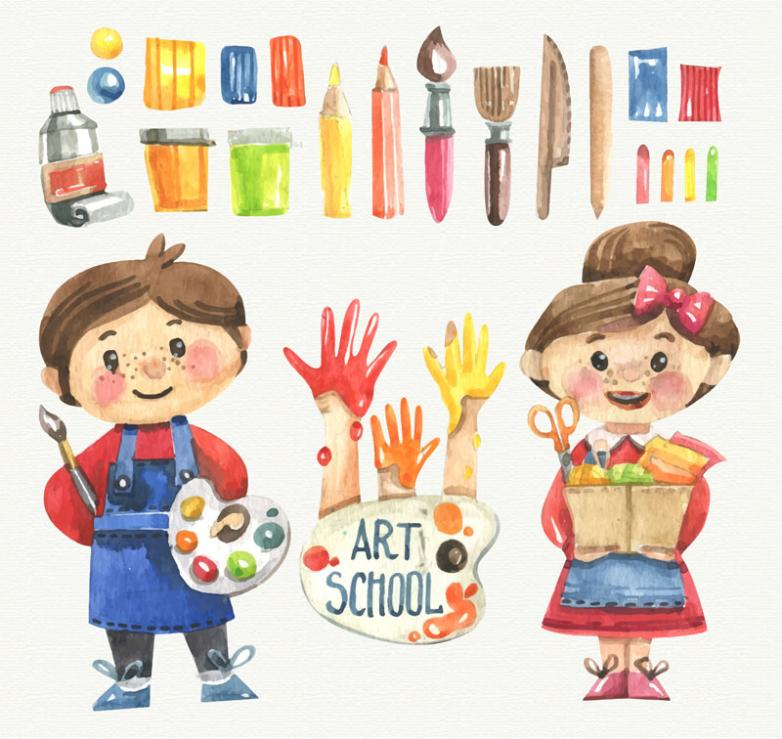 Two Vector Drawing Painting Children And 20 Painting Tool