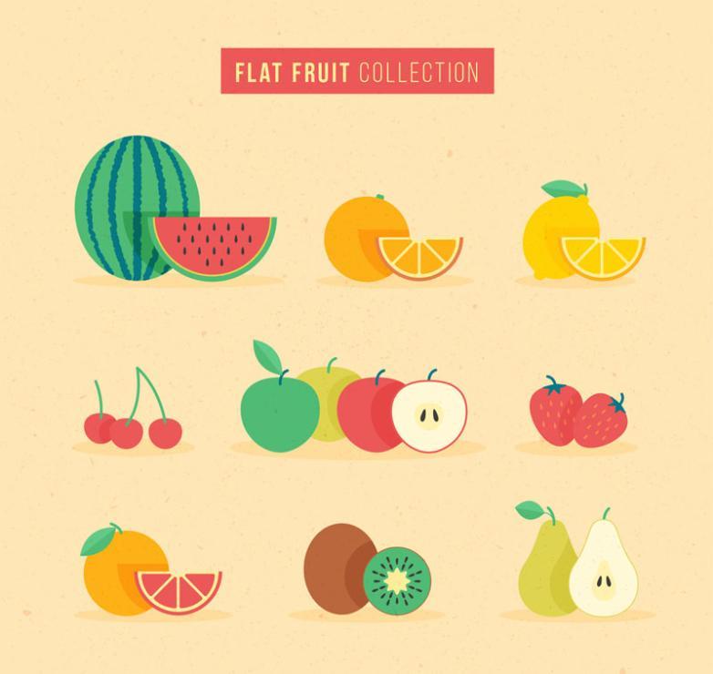 9 Color Fruit Design Vector