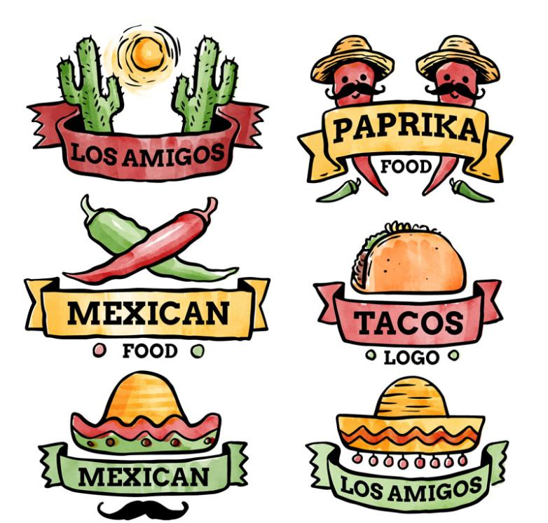 Six Mexican Food Label Vector Water Coloured Drawing Or Pattern