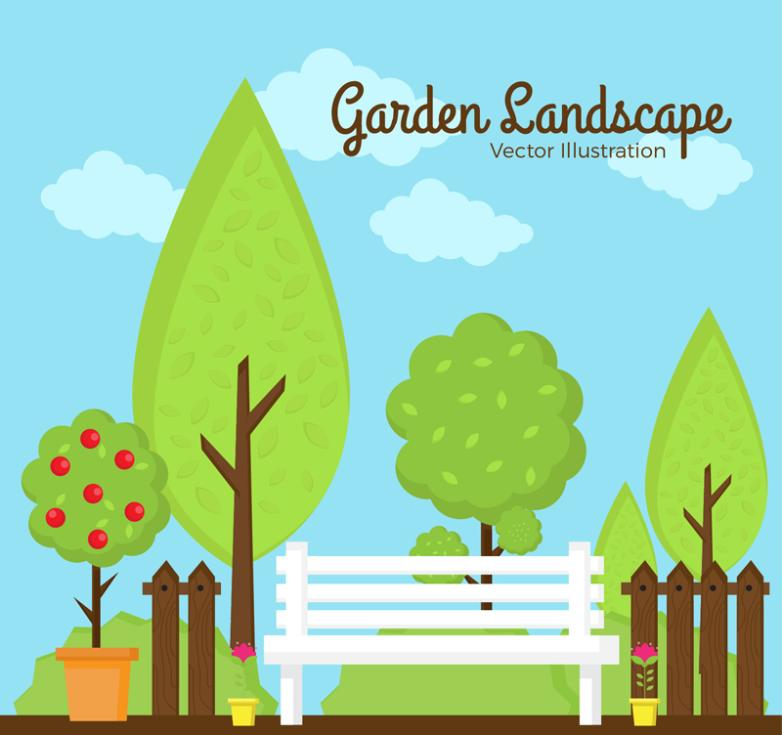 The Beautiful Scenery Garden Benches Vector