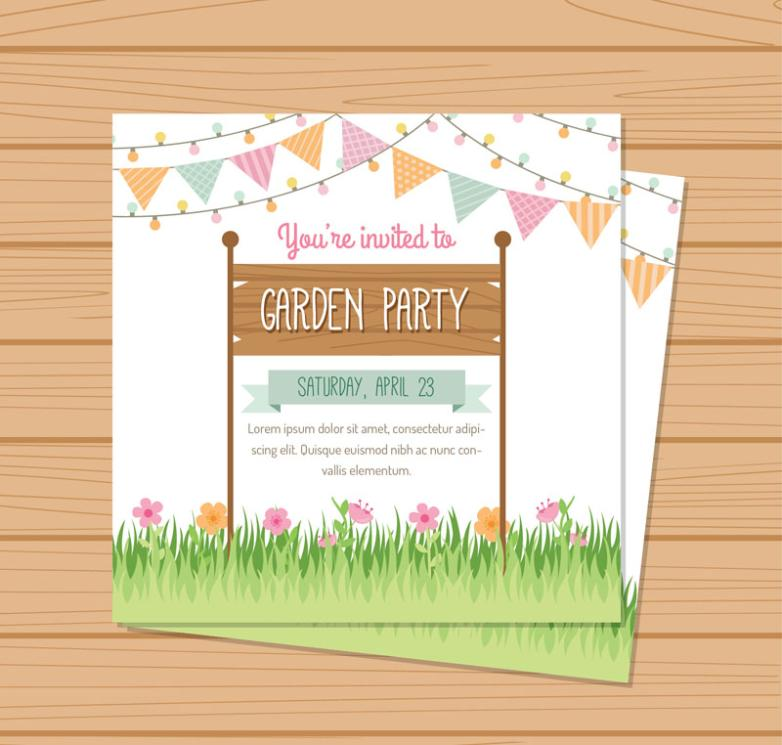 The Colorful Garden Party Invitations Cards Vector